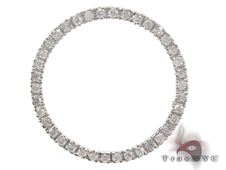Ladies White Gold Diamond Circle Pendant 21481 Stone
