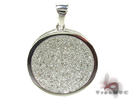 Ladies White Gold Pave Diamond Pendant 21494 Stone