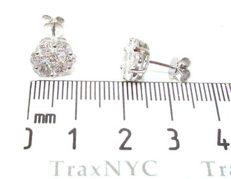 Ladies White Gold Prong Diamond Earrings 21123 Stone