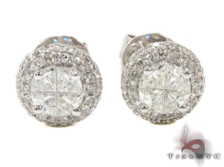 Ladies White Gold Trillion Round Cut Diamond Earrings 21097 Diamond Earrings For Women