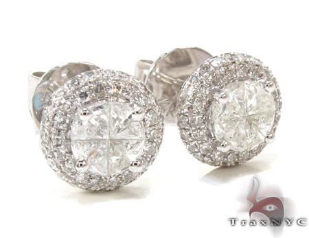 Ladies White Gold Trillion Round Cut Diamond Earrings 21097 Stone
