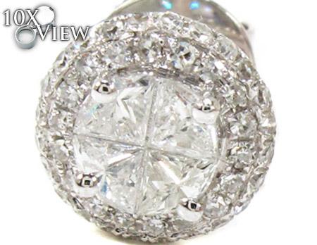 Ladies White Gold Trillion Round Cut Diamond Earrings 21097 Stone