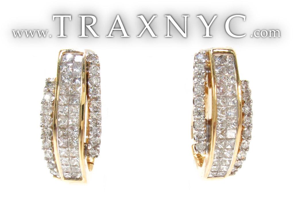 ladies yellow gold diamond hoop earrings 21104. Black Bedroom Furniture Sets. Home Design Ideas
