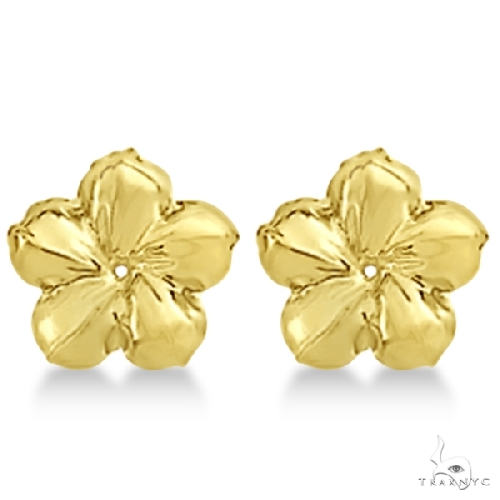 Large Flower Earring Jackets For studs upto 13mm Studs 14K Yellow Gold Metal
