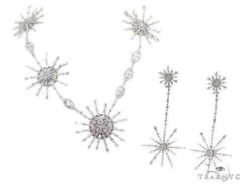 Leo Prong Diamond Earrings & Necklace Set 43811 Diamond