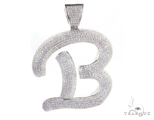 letter b mens diamond pendant white gold 14k round cut 1560 ct