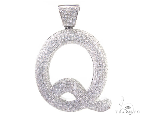Letter q mens diamond pendant white gold 14k aloadofball Images