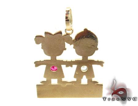 Little Kid Couple Gold Pendant Metal