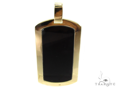 Medium yellow gold onyx dog tag mens style yellow gold 14k aloadofball Images
