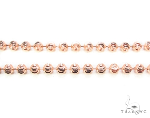 Mens 10k Solid Rose Gold Moon Cut Chain 32 Inches 5mm  48262 Gold