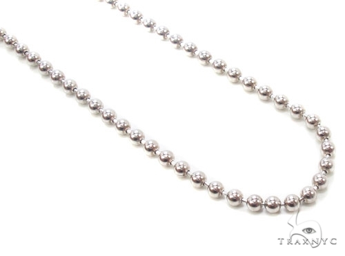 Mens 10k Solid White Gold Ball Chain 24 Inches 2.3mm 9.13 Grams 46832 Gold