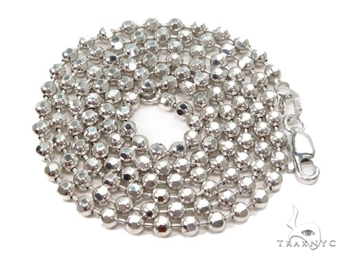 Mens 10k Solid White Gold Ball Chain 24 Inches 3mm 14.25 Grams 46806 Gold