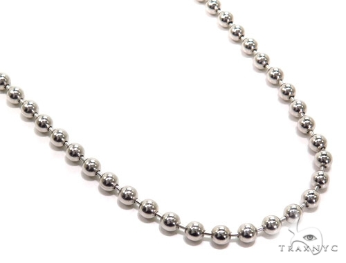 Mens 10k Solid White Gold Ball Chain 24 Inches 3mm 16.17 Grams 46819 Gold