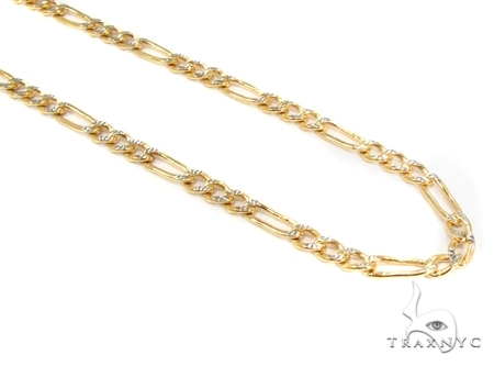 Mens 10k Solid Yellow Gold Figaro Chain 18 Inches 3.5mm 5.98 Grams 47323 Gold