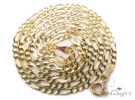 Mens 10k Solid Yellow Gold Figaro Chain 24 Inches 3.5mm 8.79 Grams 47358 Gold