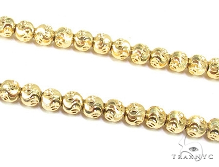 Mens 10k Solid Yellow Gold Moon Cut Chain 34 Inches 4mm  48406 Gold