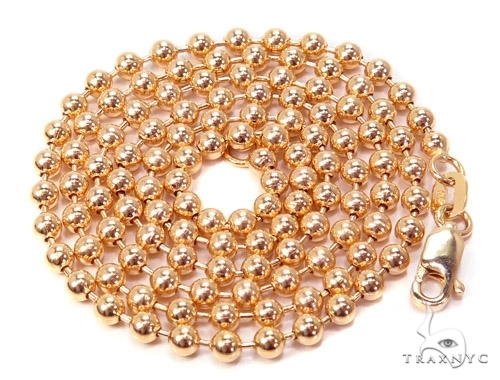 Mens 14k Solid Rose Gold Ball Chain 26 Inches 4mm 31.63 Grams 46816 Gold