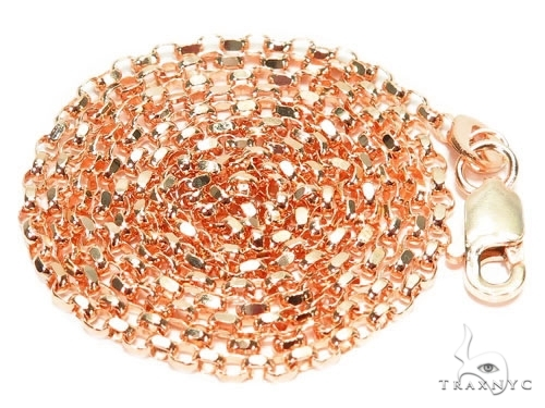 Mens 14k Solid Rose Gold Cable Chain 20 Inches 0.9mm 1.40 Grams 47022 Gold