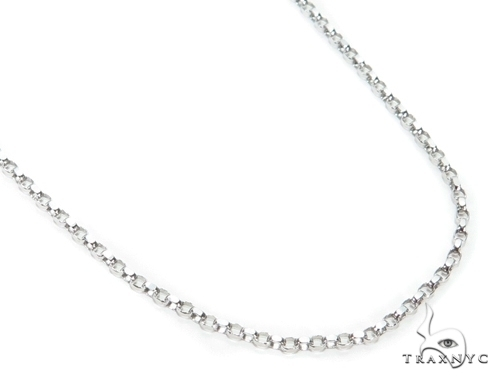 Mens 14k Solid White Gold Cable Chain 18 Inches 0.8mm 0.92 Grams 47024 Gold