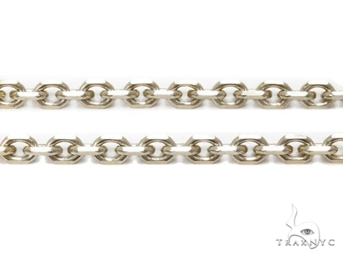 Mens 14k Solid White Gold Cable Chain 22 Inches 1.4mm 3.13 Grams 46973 Gold