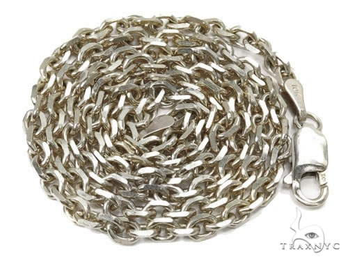 Mens 14k Solid White Gold Cable Chain 22 Inches 3.5mm 20.64 Grams 46917 Gold