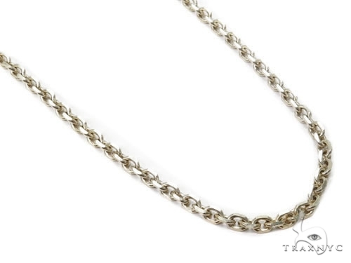 Mens 14k Solid White Gold Cable Chain 26 Inches 2.4mm 10.58 Grams 46919 Gold