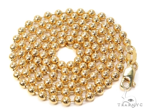 Mens 14k Solid Yellow Gold Ball Chain 18 Inches 3mm 12.75 Grams 46857 Gold
