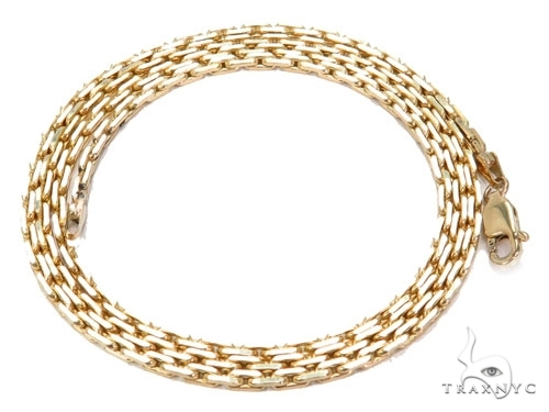 Mens 14k Solid Yellow Gold Boston Link Chain 22 Inches 0.7mm 3.10 Grams 46872 Gold