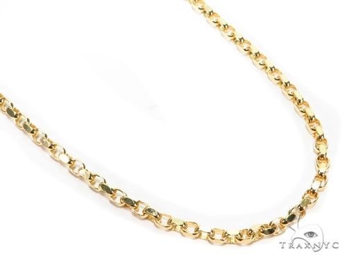 Mens 14k Solid Yellow Gold Cable Chain 24 Inches 3.4mm 23.10 Grams 47003 Gold
