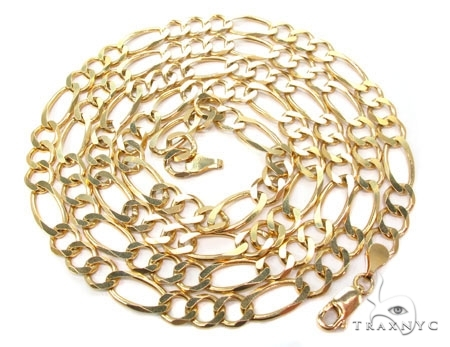 Mens 14k Solid Yellow Gold Figaro Chain 22 Inches 6.6mm 27.28 Grams 47367 Gold