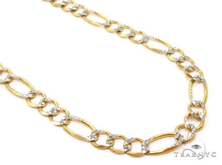 Mens 14k Solid Yellow Gold Figaro Chain 22 Inches 6.7mm 27.13 Grams 47349 Gold