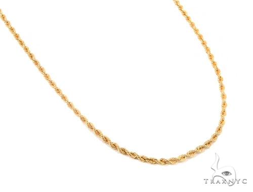 Mens 14k Solid Yellow Gold Rope Chain 30 Inches 2.5mm  48643 Gold