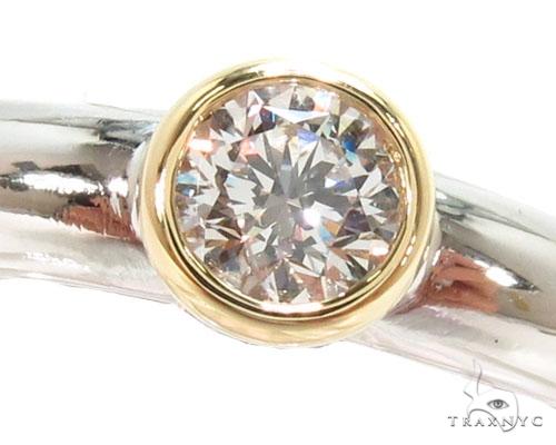 Mens 18K Yellow Gold Bezel Diamond Platinum Wedding Ring Style