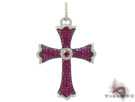 Ladies Prong Pink Ruby & Diamond Cross Crucifix ジェムストーンクロス