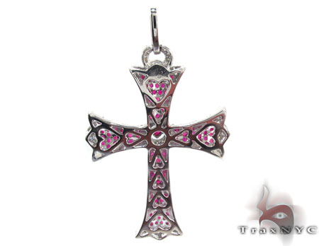 Ladies Prong Pink Ruby & Diamond Cross Style