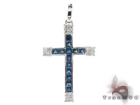 Unisex Gemstones Diamond Cross Diamond