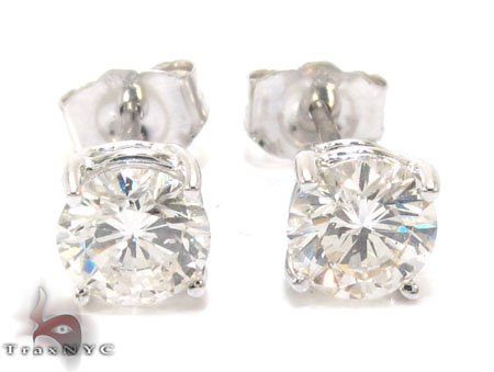 Mens Prong Diamond Earrings 22343 Stone