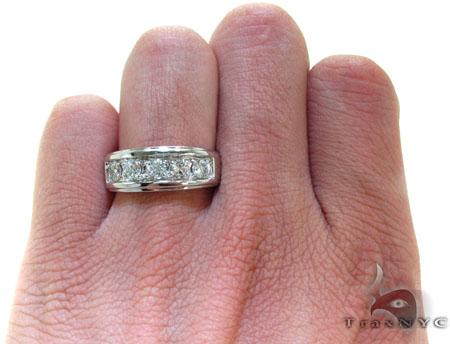 Mens Five Stone Prong Set White Gold Wedding Ring Stone