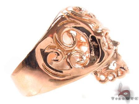Mens Rose Gold Skull Ring 2 Stone