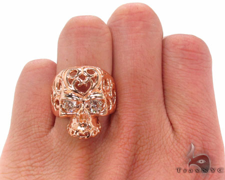 Mens Rose Gold Skull Ring 2 Stone