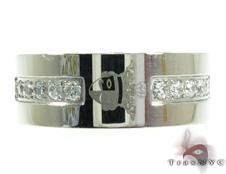 Mens Cheap Embroidery Designed CZ Stainless Steel Ring Metal