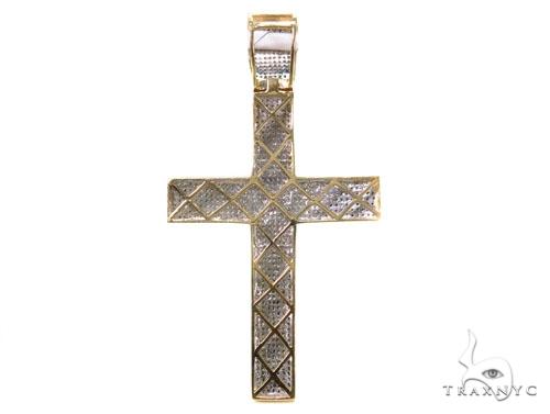 Mens Tri-Color Diamond Cross 39501 Diamond
