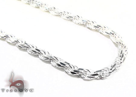 Mens White Silver Chain 26 Inches 4.5mm 46.6 Grams Silver