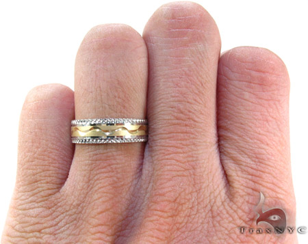 Mens Yellow Gold Wave  Ring Style