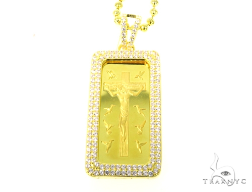 Silver Jesus Bar Pendant Set 48942 Metal