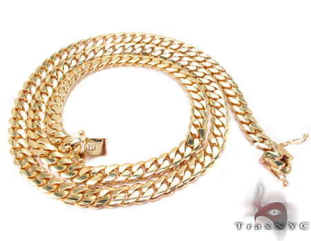 Miami Cuban Curb Link Chain 24 Inches 8mm 109Grams Gold