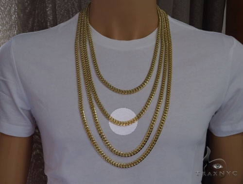 Miami Cuban Gold Chain 28 Inches 7mm 94.40 Grams-40107 Gold