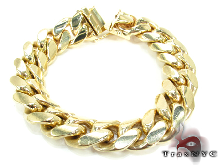 Miami Cuban Link Bracelet 7 Inches 16mm 122.1 Grams Gold