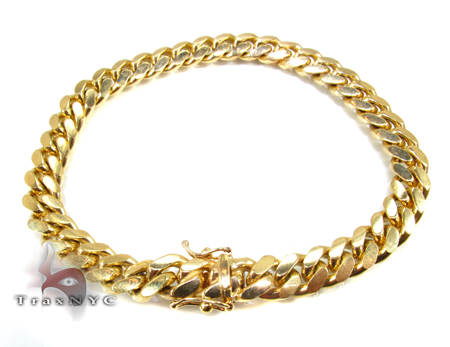 Miami Cuban Link Bracelet 7 Inches 7mm 26.2 Grams Gold