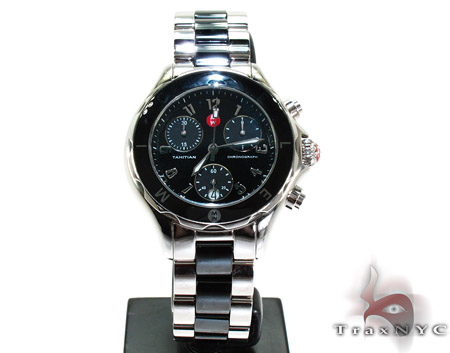 Michele Large Tahitian Black Ceramic Watch MWW12E000004 Michele Diamond Watches